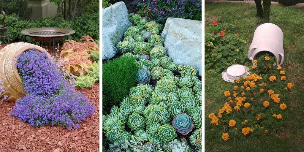 10 superbes idées de pots de fleurs renversés pour votre pelouse et votre jardin
