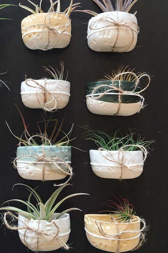 Pots muraux en céramique avec accent de demi-couleur